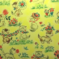 Kitties! Vintage wrapping paper.