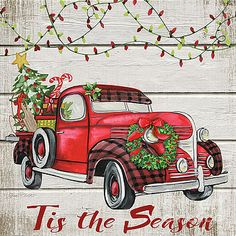 Trademark Global Jean Plout 'Vintage Christmas Truck Canvas Art - 35 x 35 x 2 Christmas Red Truck, Diy Christmas Tree, Outdoor Christmas, Christmas Wreaths, Christmas Ornaments, Christmas Artwork, Christmas Labels, Christmas Scenes, Christmas Paintings