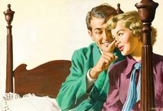 Being playful in the bedroom. Never know where it might lead. The painting was in Redbook magazine in 1949.
