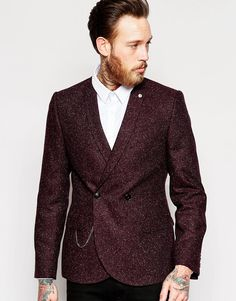 Image 1 ofNoose & Monkey Double Breasted Blazer with Chain & Fleck in Super Skinny Fit