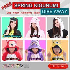 SPRING KIGURUMI GIVEAWAY! See More Details Here: http://on.fb.me/1Kz9w63 #Free #KigurumI #onesie #giveaway #kigu #Sale #pajamas #cute #kawaii #spring
