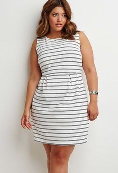 67740a9665ca Forever 21 Plus Women s Plus Size Textured Stripe Sheath Dress