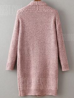 SheIn offers Pink Shawl Collar Drop Shoulder Long Sweater Coat & more to fit your fashionable needs. Knit Cardigan Pattern, Crochet Cardigan, Kimono Cardigan, Long Sweater Coat, Long Sweaters, Pink Shawl, Big Knits, Crochet Wool, Collar Styles