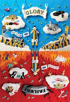 Gail Armstrong is an illustrator, specialized in 3d painting on paper, 3d paper cut illustrations