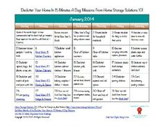 Free printable January 2014 decluttering calendar, with daily 15 minute missions {on Home Storage Solutions 101}