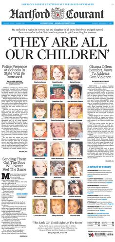 Hartford Courant with faces of the victims, notes police presence in CT schools
