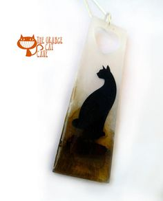 Black Cat and Wood Heart Resin Necklace