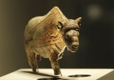 Bison sculpted from mammoth ivory. Found at Zaraysk, Russia. About 20,000 years old