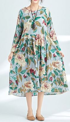 Women loose fit plus over size flower floral pocket dress maxi skater skirt #unbranded #AnyOccasion