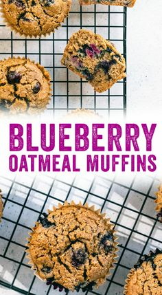 These gluten free blueberry oatmeal muffins are made with rolled oats (no flour!), bananas and blueberries: and they're irresistible! Oatmeal Blueberry Muffins Healthy, Strawberry Rhubarb Muffins, Blueberry Rhubarb, Banana Oat Muffins, Gluten Free Blueberry, Healthy Banana Bread, Blueberry Recipes, Healthy Muffins, Healthy Food