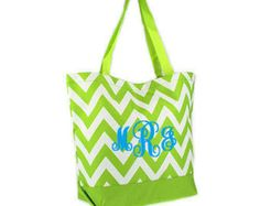 Lime Green Chevron Tote with FREE Monogram - Edit Listing - Etsy
