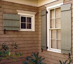 Looking for Exterior Shutters? View Exterior Shutters and get ideas for Exterior Shutters. Information on local Exterior Shutters showrooms. Exterior Shutter Colors, Window Shutters Exterior, Outdoor Shutters, House Shutters, Wood Shutters, Exterior House Colors, Exterior Design, Exterior Paint, Country Shutters