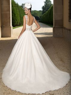 Pearl Bridal Dress   www.ForTheBrideMag.com Cheap Wedding Dresses Uk, Evening Dresses For Weddings, Bridal Wedding Dresses, Bridal Style, Wedding Dress Organza, Tulle Wedding, Marie, Ball Gowns, Cathedral Train