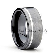 Blakes favorite! Or the black zirconium flat or w gold. Gun Metal Tungsten Wedding BandAnniversary by CleanCastingJewelry