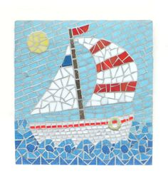Sailboat Mosaic Wall Art, Nautical home decor, One-of-a-kind Mosaic Art by MollyCatMosaics    etsy