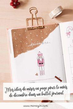 Décembre dans un bullet journal : retrouvez mes idées de mises en page (page de garde, tracker, doodles, weekly log, monthly log...)