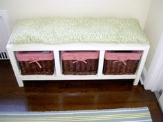 DIY for beginners:  cubby storage bench, great for entryway, mud room, kids' room...  Free plans.