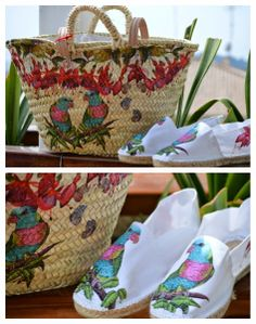 Mireia's World-espadrille & bascket handbag decorated decoupage Fall Crafts, Diy Crafts, Painted Bags, Summer Design, Basket Bag, Decoupage Paper, Summer Accessories, Cloth Bags, Wicker