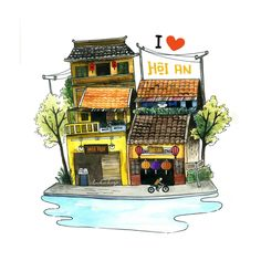Hoi An ancient town on Behance Building Drawing, Meditation Art, Cafe Art, Up Book, Hoi An, Funny Art, Retro, Book Design, Art Pictures