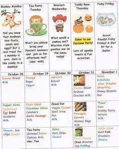Week of Halloween menu