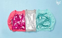 Tops she'll flip for. Reversible sequins = two looks in one!
