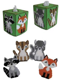 These sweet forest friends willcheer up your home or office! Pattern includes a fox, raccoon, chipmunk and squirrel with little acorns on the top of the tissue box cover. They are stitched on 7-count plastic canvas with worsted-weight yarn. Size: co...