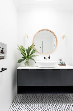 Home Renovation Design and Styling: Northern Beaches — Heliconia Bathroom Renos, Small Bathroom, Washroom, Bathroom Cabinets, Master Bathroom, Bathroom Ideas, Bathroom Styling, Bathroom Interior Design, Black And White Tiles Bathroom