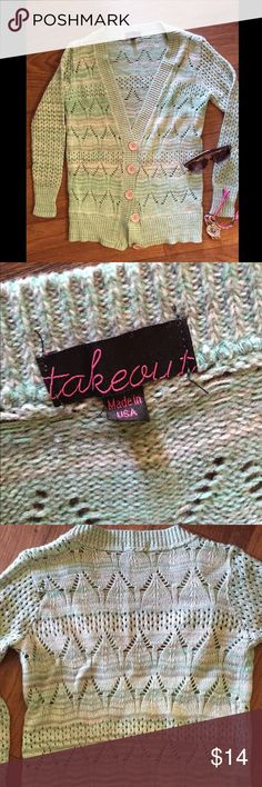 Mint Green/Blue Knit Sweater Cardigan Super cute light weight cardigan. Worn and washed twice, no noticed flaws.                      Can be worn buttoned up or open for the perfect addition to any outfit!                                 I will always consider ALL reasonable offers!  Takeout Sweaters Cardigans