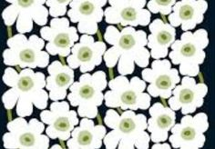 Marimekko White Black Pieni Unikko cotton fabric, half yard, for pillows, bags, aprons etc. Finland