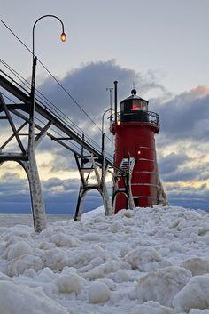 Snowy Lighthouse - St Joseph, Michigan
