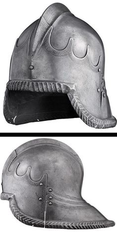 A large etched tailed sallet, celata all'italiana, in the Italian style circa Medieval Helmets, Medieval Weapons, Armor All, Arm Armor, Historical Artifacts, Ancient Artifacts, Armor Clothing, Late Middle Ages, Knight Armor