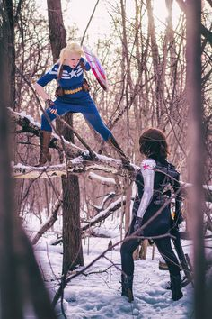 Cosplay of Female Captain America and Bucky Barnes.