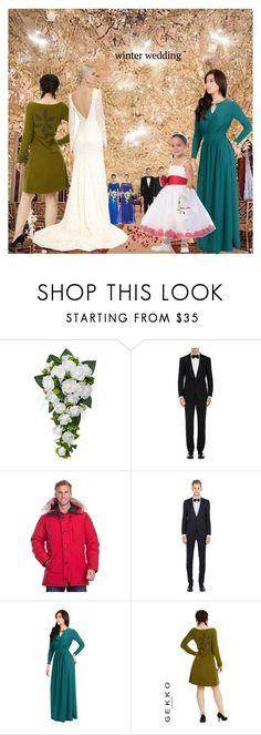 """""""Enchanted Winter Wedding!"""" by bevmardesigns ❤ liked on Polyvore featuring Ralph Lauren Purple Label, Canada Goose, Tagliatore, Koh Koh, Theia, menswear, fashionset, womensFashion and winterwedding"""