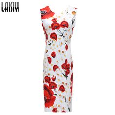 Limited Offer $11.38, Buy 2017 New Summer Women Dresses Elegant Slim Dress Package Hip Pencil Vestidos Floral Printed midi Dress Sexy Bodycon Robe DR2159
