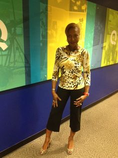 This morning at QVC wearing my Women with Control Pull-On Cropped Pant (A200215) and my Women with Control Animal Print 3/4 Sleeve Knit Top(A211013).