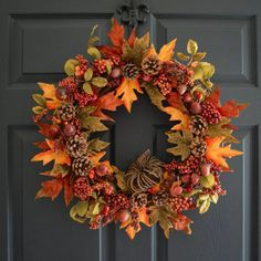 Thanksgiving Wreaths, Thanksgiving Decorations, Fall Door Decorations For Home, Diy Fall Wreath, Autumn Wreaths For Front Door, Winter Wreaths, Spring Wreaths, Summer Wreath, Holiday Wreaths