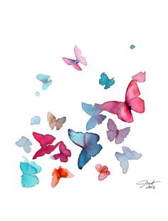 Butterflies print from original watercolor by JessicaIllustration
