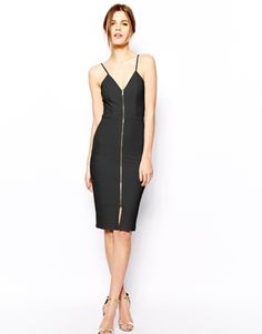 ASOS Zip Bandage Body-Conscious Dress - Black