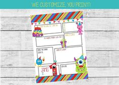 First birthday time capsule - monster first birthday theme. Our printable first birthday time capsule is the perfect way to capture memories from loved ones! We customize the name, age and questions, you print! Can be customized for any age #firstbirthdayparty #firstbirthdaypartyideas #birthdaytimecapsule #firstbirthdaytimecapsule #monsterbirthdayparty #monsterfirstbirthday #boybirthdayideas Monster First Birthday, First Birthday Themes, Monster Birthday Parties, Kids Birthday Party Invitations, 1st Birthday Girls, Birthday Party Decorations, First Birthdays, Party Activities, Time Capsule