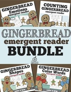 Save big with this gingerbread emergent reader BUNDLE of all 4 of our gingerbread emergent readers for your guided reading groups! This is a massive savings of over 25% off!  This bundle has each book in COLOR and B/W!: Here are the books included:   ★ Gingerbread Emotions Emergent Reader   ★Gingerbread Counting Emergent Reader  ★Gingerbread Color Words Emergent Reader  ★Gingerbread Shapes Emergent Reader  All the emergent readers have repetitive text.