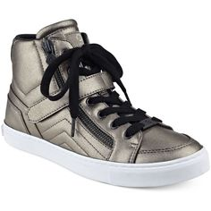 G by Guess Ojay Lace-Up High-Top Sneakers ($60) ❤ liked on Polyvore featuring shoes, sneakers, pewter, high top lace up shoes, lace up shoes, lacing sneakers, pewter shoes and high top trainers
