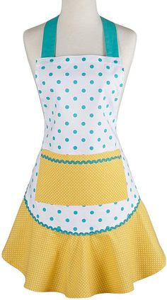 polka dot apron / Aqua & Yellow Polka Dot apron / Ruffle Apron / chef apron / hostess apron / apronology / aprons for women /