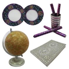 """Christmas Gift Lot Globe, Photo Frame, Pen Pot, Diary Decorative Material Mdf Lac Handmade Table Topper Home Décor Multicolor Set of 4 Items. Beautiful Handmade gift lot which include Globe, Diary, Pen Pot and Photo Frame. This ethnic gift lot combine traditional with a modern design, a great accessory for traditional touch. Material, Size and Color- Globe : Material-Plastic and Iron, Size-Stand -9.5"""" and Plastic Ball-6"""" Inches, Color-Beige Diary : Material-Satin and Lac, Size-Length - 6""""…"""