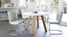 Modern Round White Gloss and Oak Dining Table