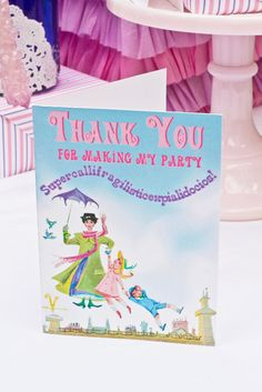 Mary Poppins Vintage Party - PRINTABLE THANK YOU Cards - Cutie Putti Paperie. $7,50, via Etsy.