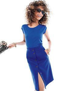 J.Crew Looks We Love: women's ballet cap-sleeve T-shirt, button-front skirt, Sam sunglasses, mixed charm bracelet and Signet bag.