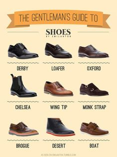 Many of you call all of them: SHOES! and you're right.. but there are types of shoes that every Gentlemen should know. Here's th...
