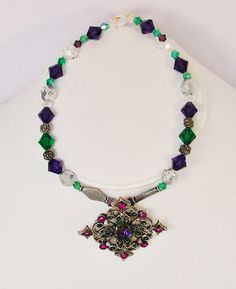 Kitty necklace Purple teal and silver toned with by maryjanebowen, $15.00