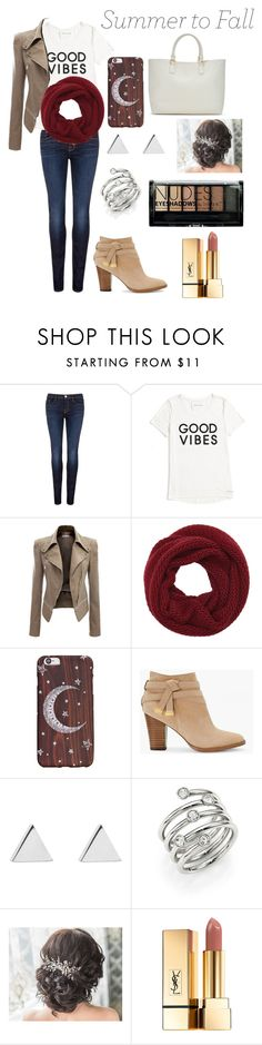 """""""First day of fall"""" by savvyjak ❤ liked on Polyvore featuring J Brand, Tommy Hilfiger, Wyatt, ShoeDazzle, White House Black Market, Jennifer Meyer Jewelry, Michael Kors, Yves Saint Laurent and Boohoo"""