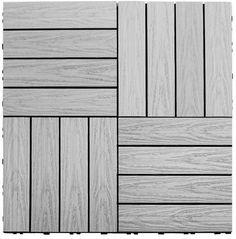 "NewTechWood Naturale Composite 12"" x 12"" Interlocking Deck Tiles in Icelandic Smoke White"